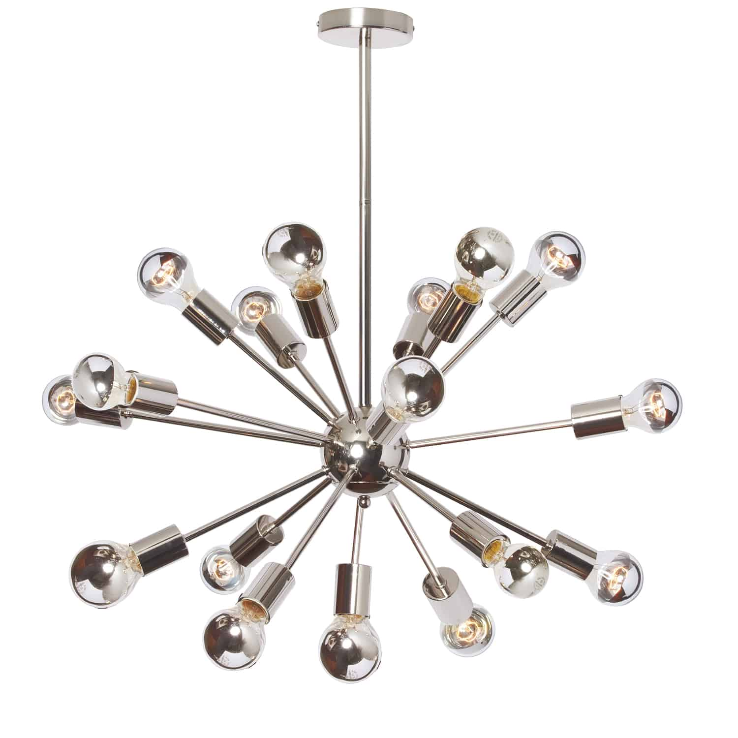 18LT Satellite Horiz Pendant w A19 Chrome Bulbs — Dainolite