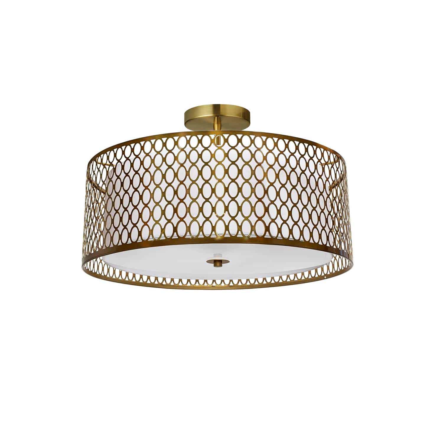 3 Light Aged Brass Semi-Flush Mount with White Shade and Laser Cut Outer