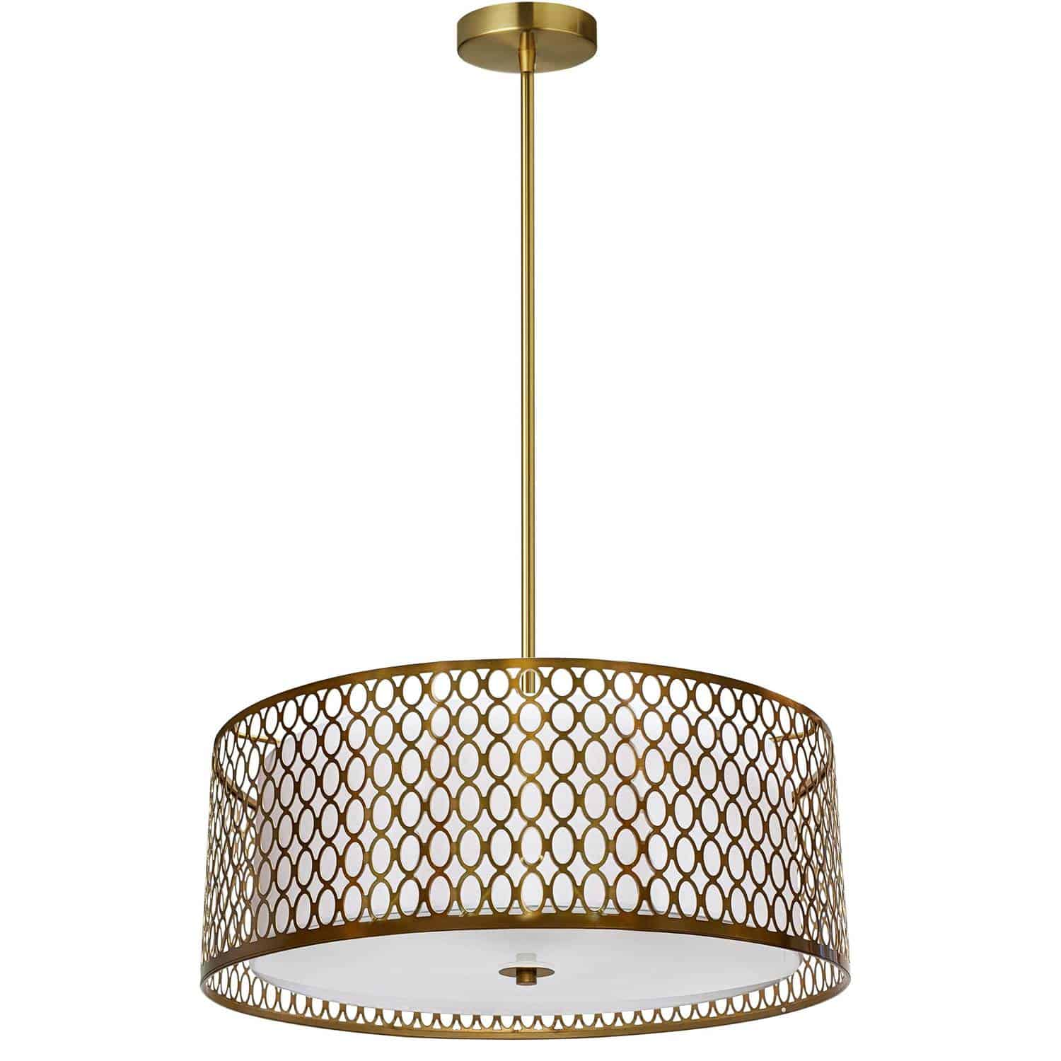 3 Light Aged Brass Pendant with White Shade and Laser Cut Outer