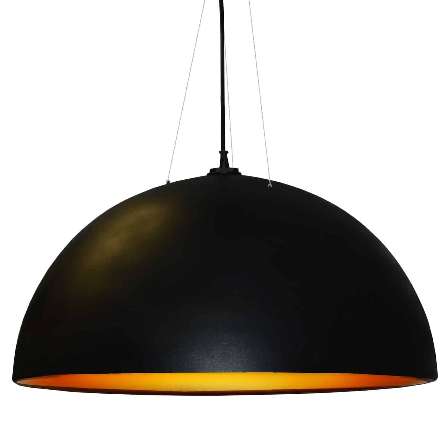 3 Bulb Pendant, Black & Gold Finish