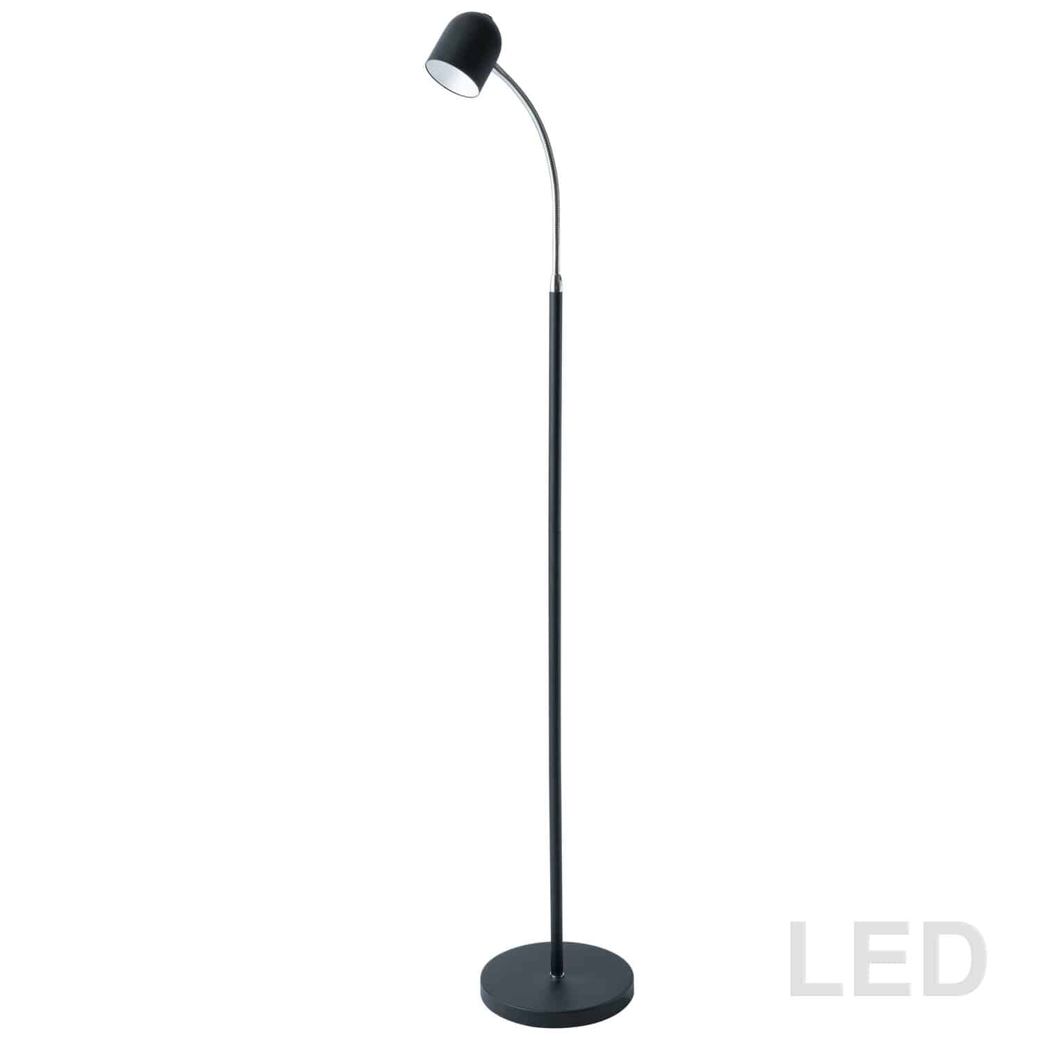 5 Watt LED Floor Lamp, Satin Black Finish