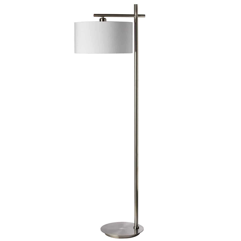 1 Light Floor Lamp, Satin Chrome Finish