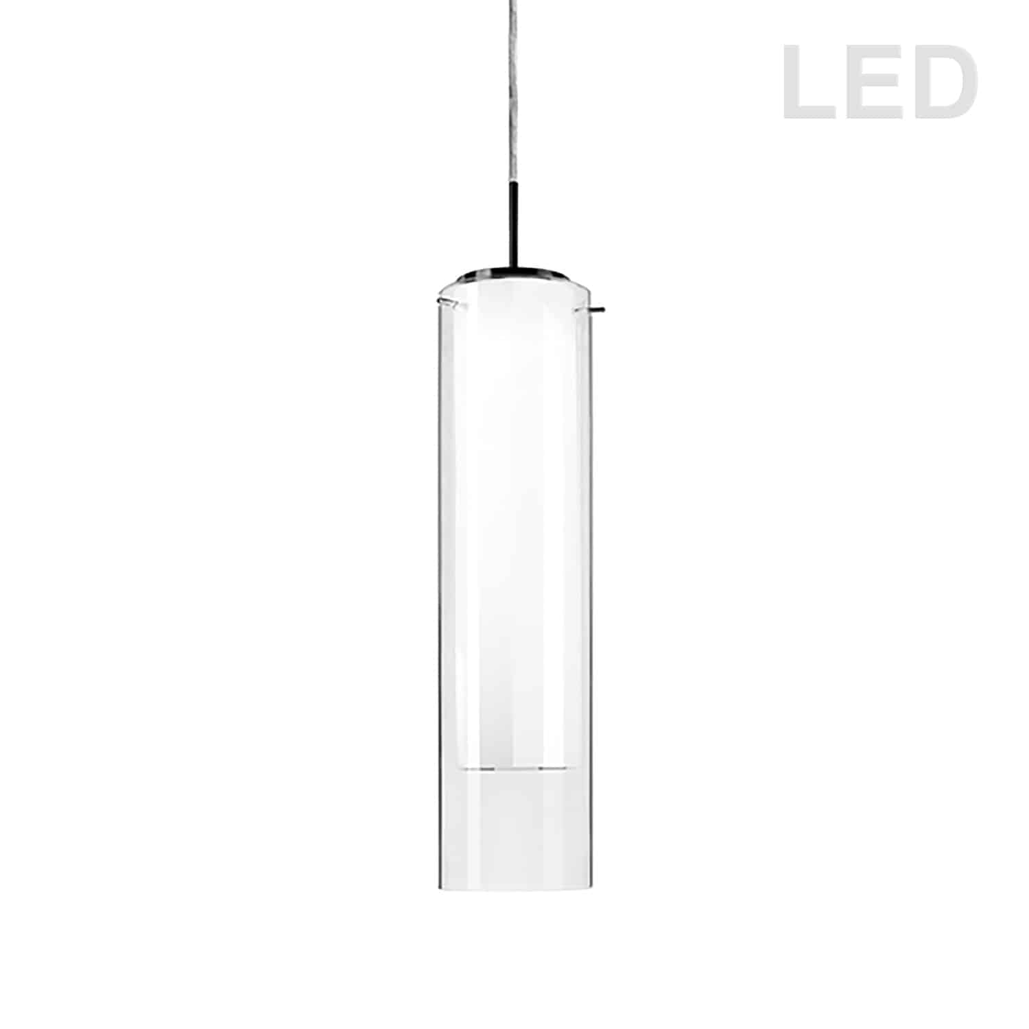 15W LED Pendant Polished Chrome Finish with White and Clear Glass