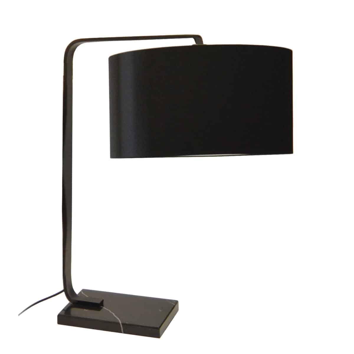 1 Light  Incandescent Table Lamp, Black Finish