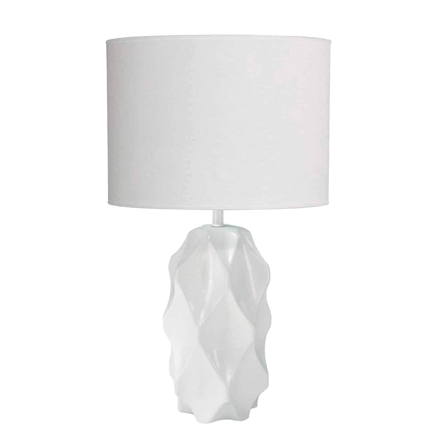 1 Light Incandescent Table Lamp White Finish with White Shade