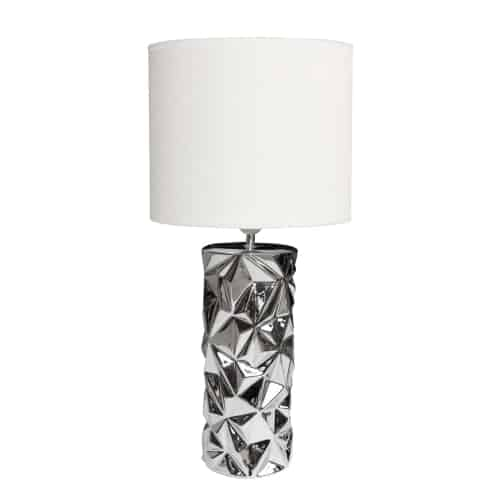 1 Light Incandescent Table Lamp Polished Chrome Finish with White Shade