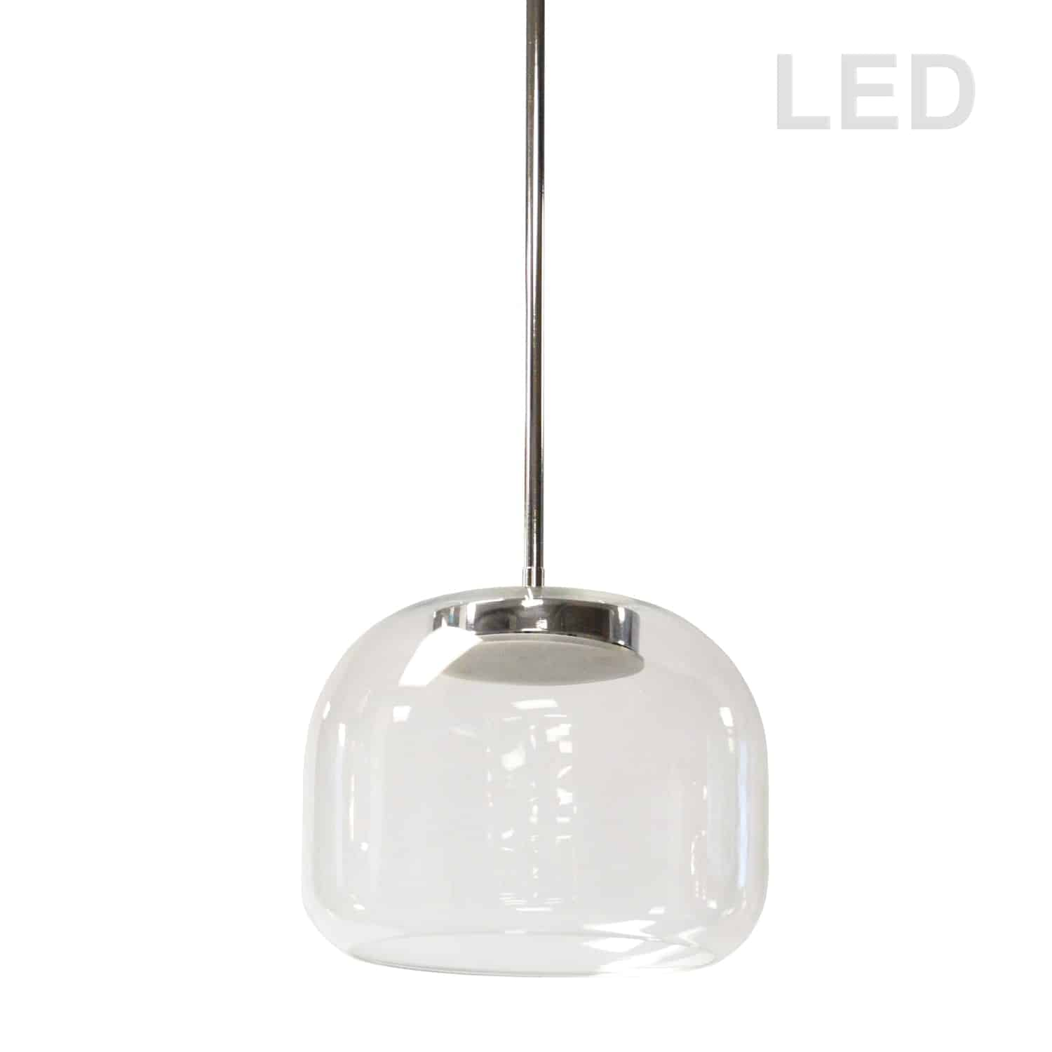 8W LED Pendant Polished Chrome Finish with Clear Glass