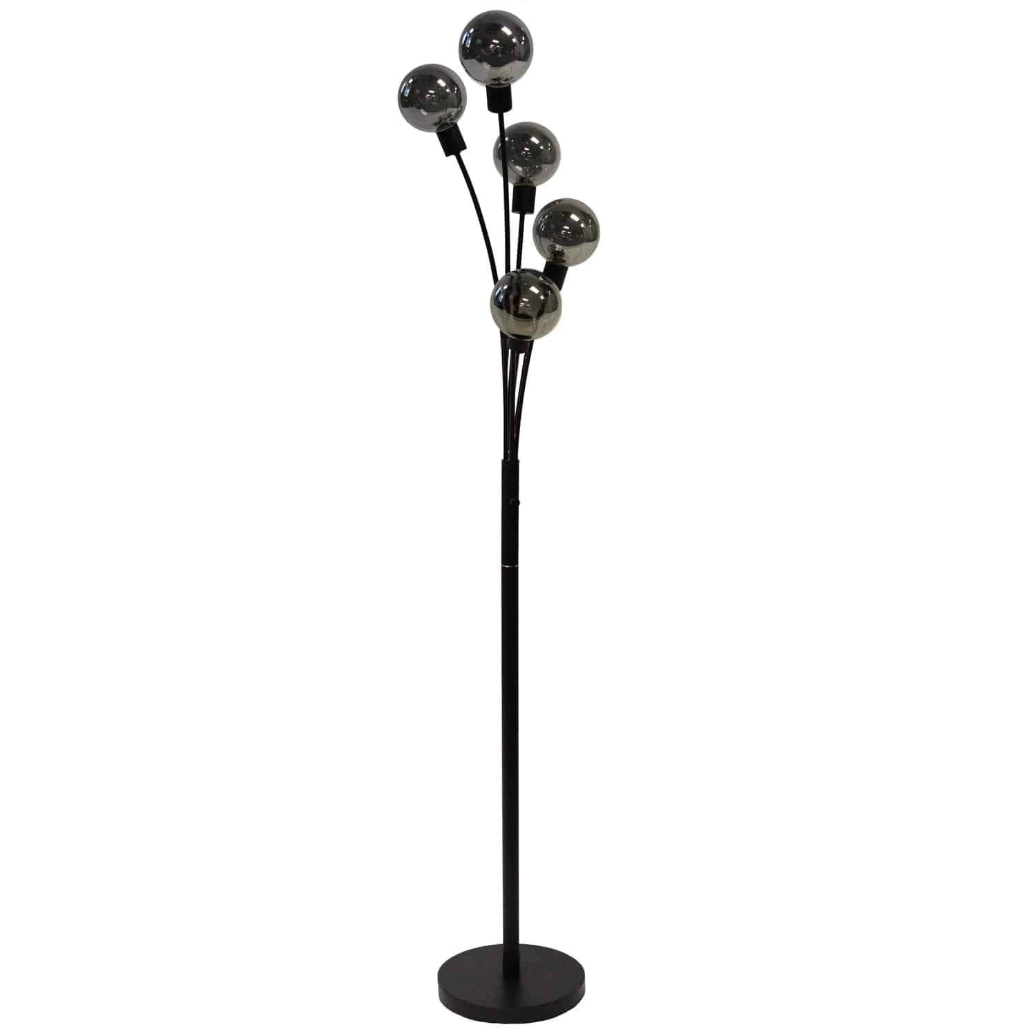 5 Light Incandescent Floor Lamp Black Finish with Smoked Glass