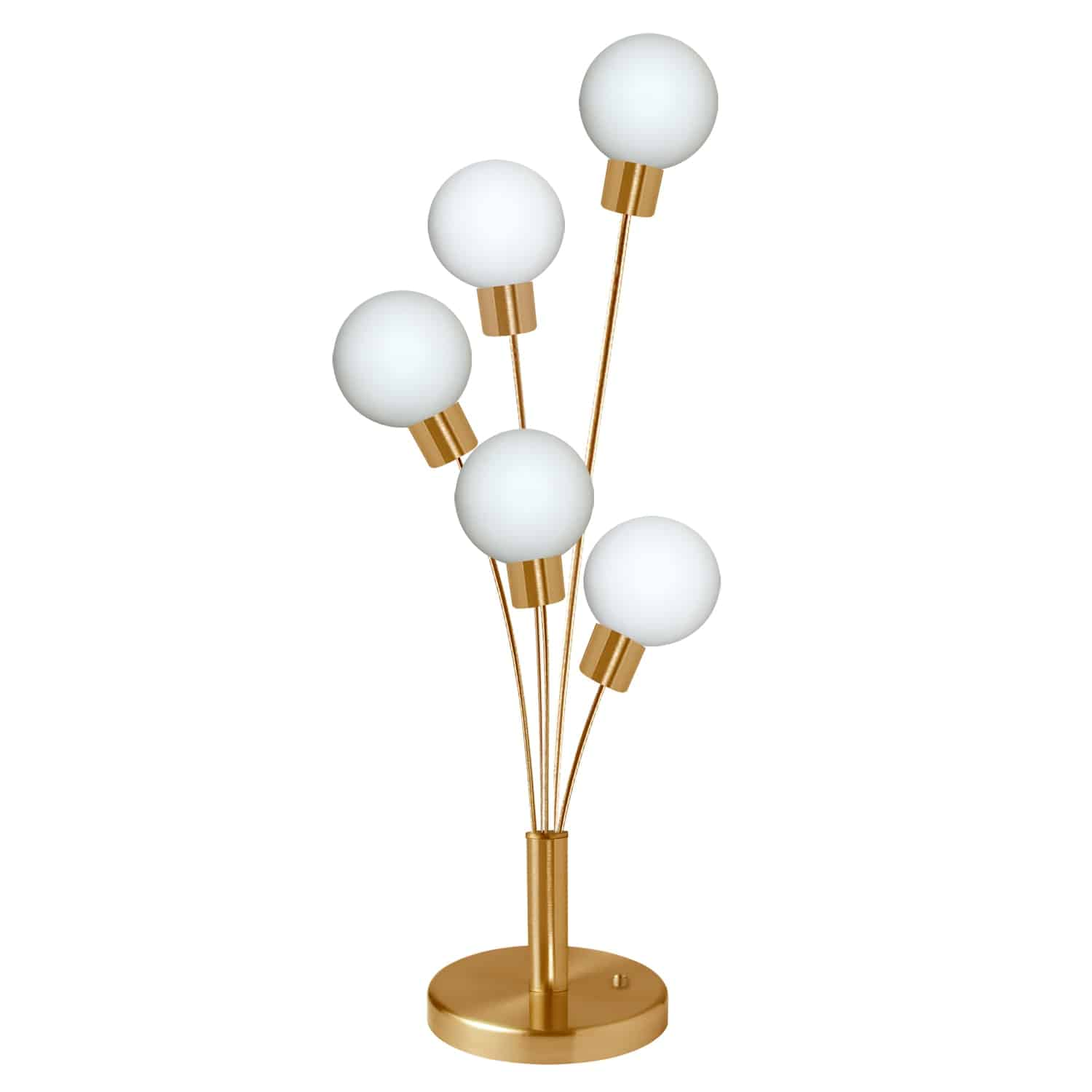 5 Light Incandescent Table Lamp Aged Brass Finish with White Glass