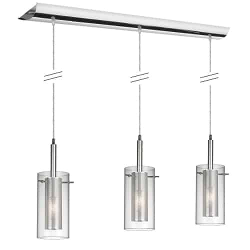 3 Light Horizontal Pendant, Polished Chrome, Clear Glass /Steel Mesh