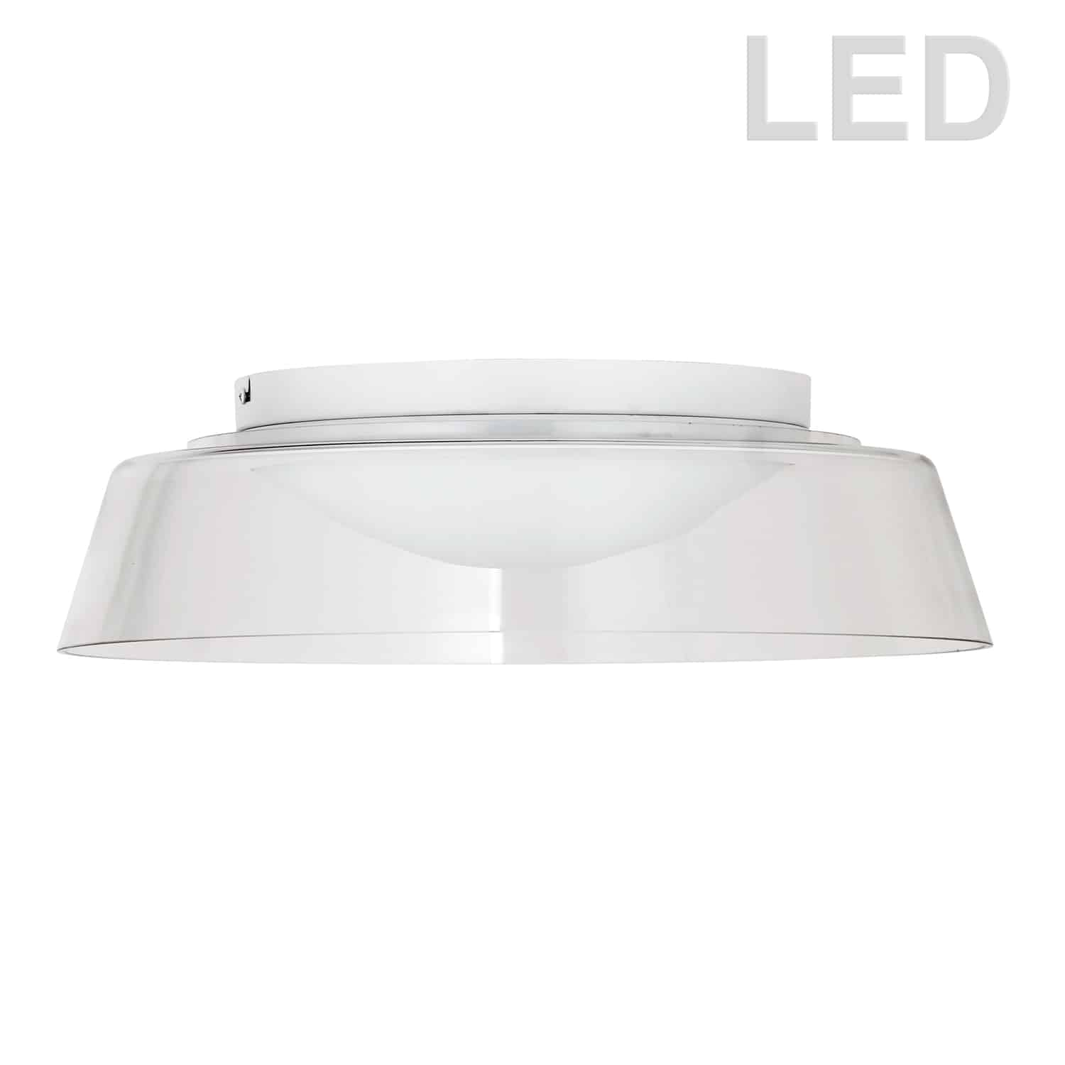35W LED Flush Mount, Matte White with Clear Glass