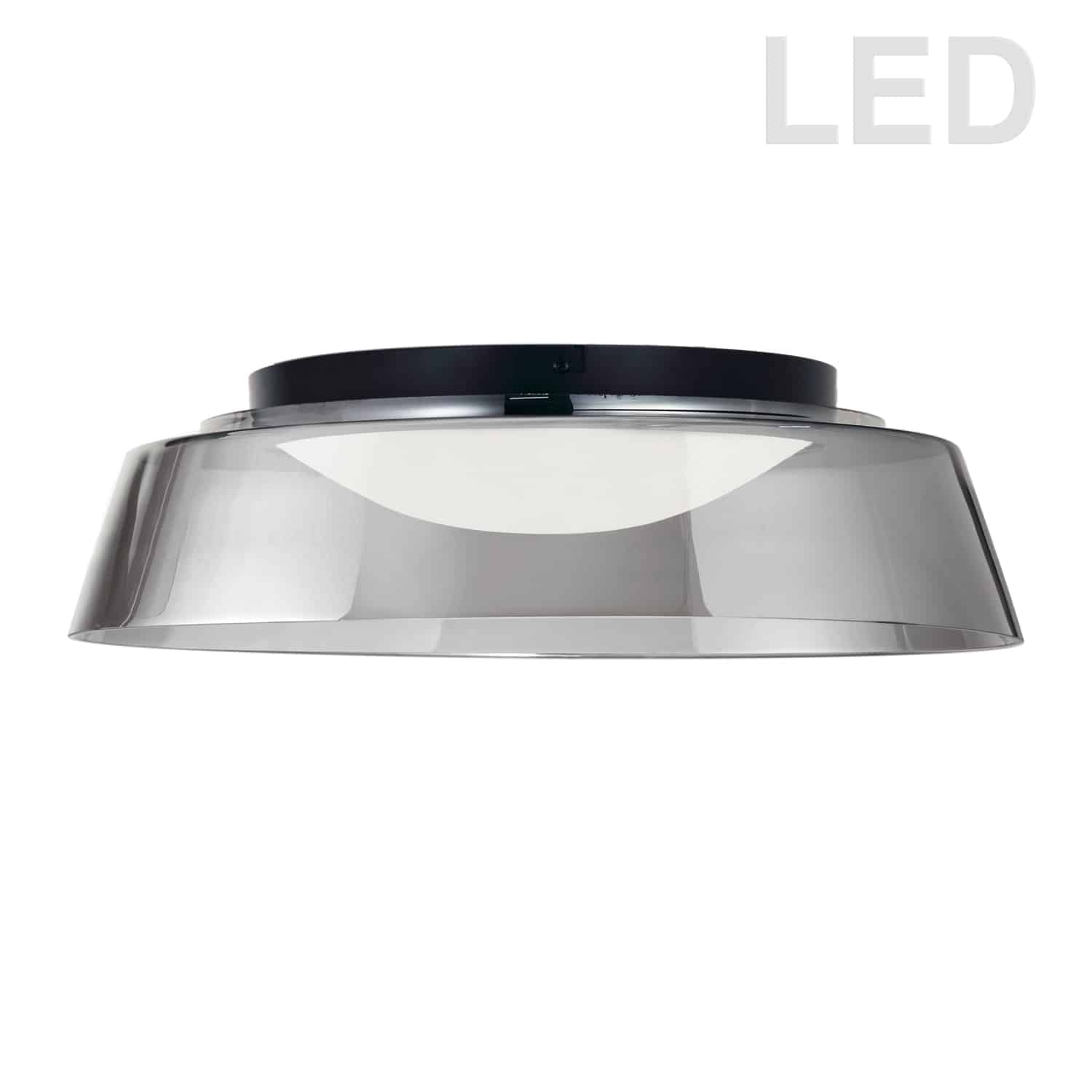 35W LED Flush Mount, Matte Black with Smoked Glass