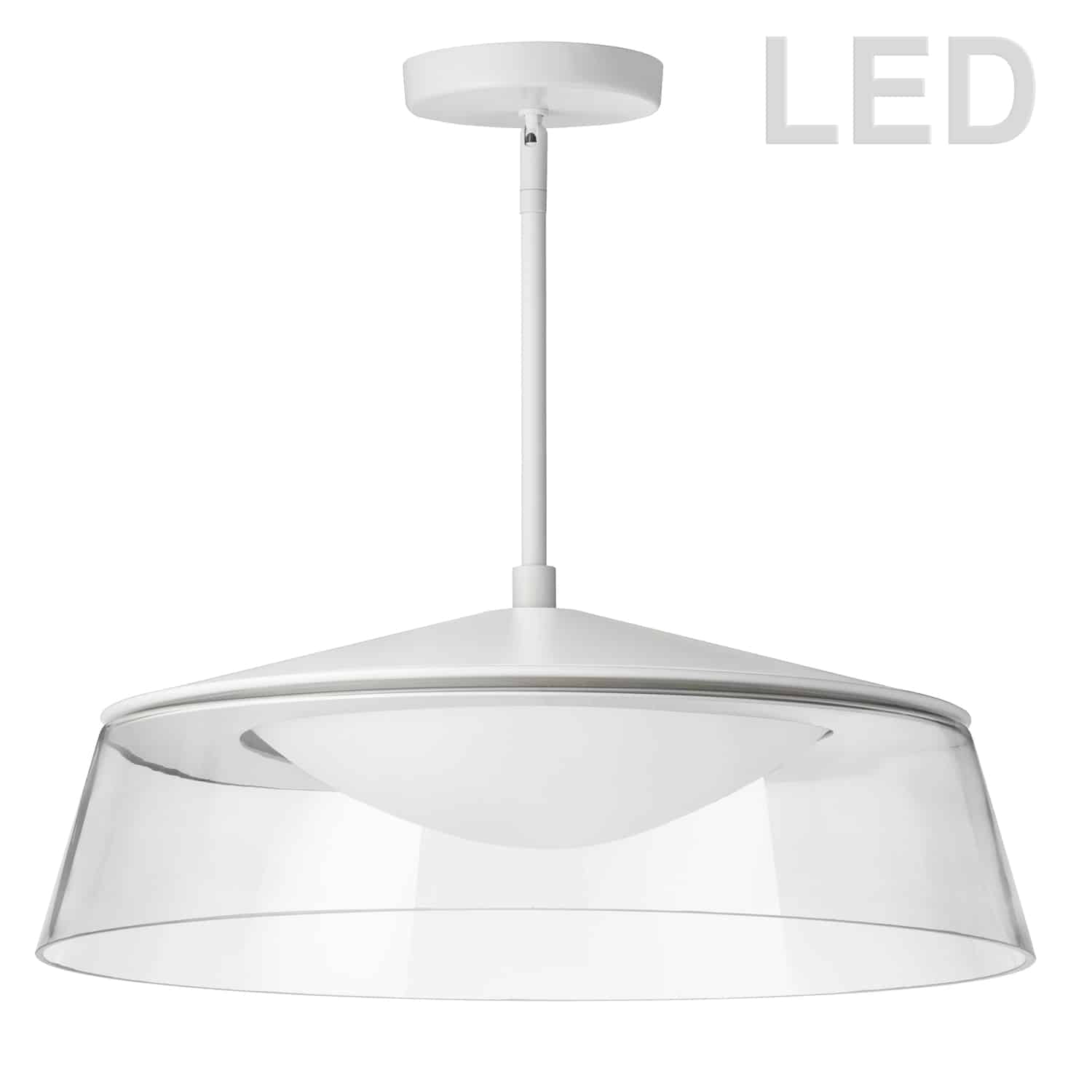 35W LED Pendant Matte White Finish with Clear Glass