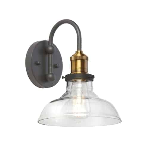 1 Light Wall Sconce, Black and Antique Brass Finish, Clear Glass