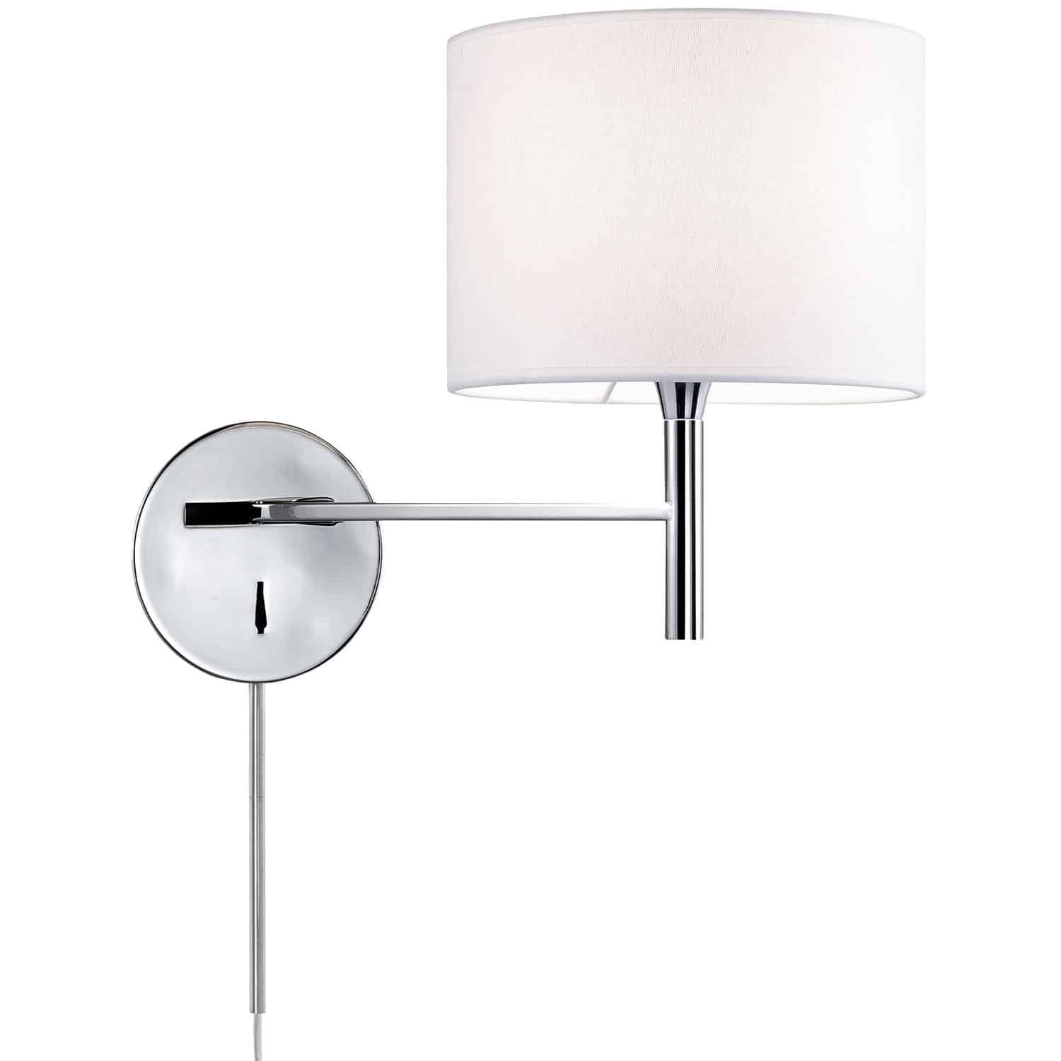 1 Light Incandescent Wall Sconce, Polished Chrome Finish with White Shade