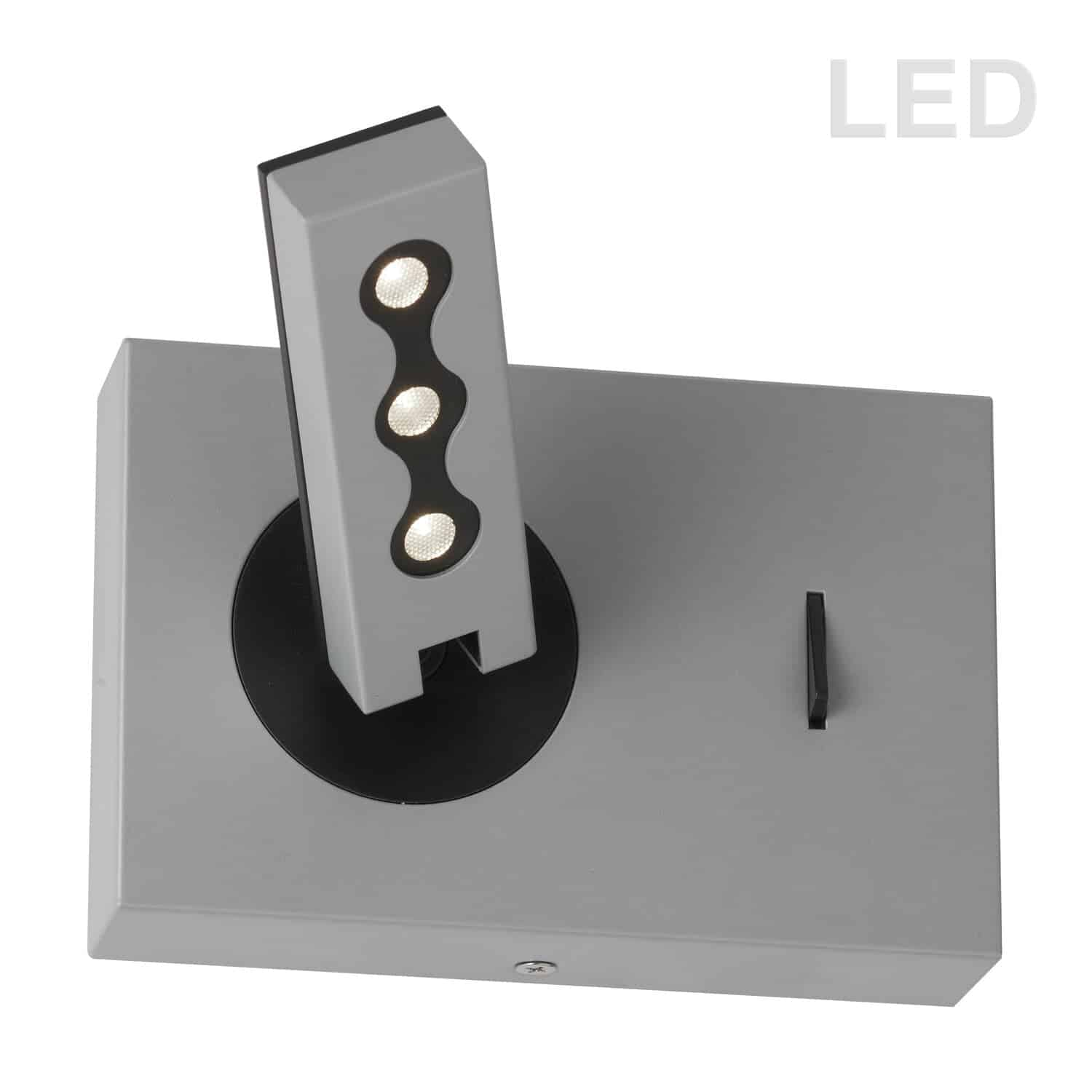 Wall Sconce w/LED Reading Lamp, Silver Finish