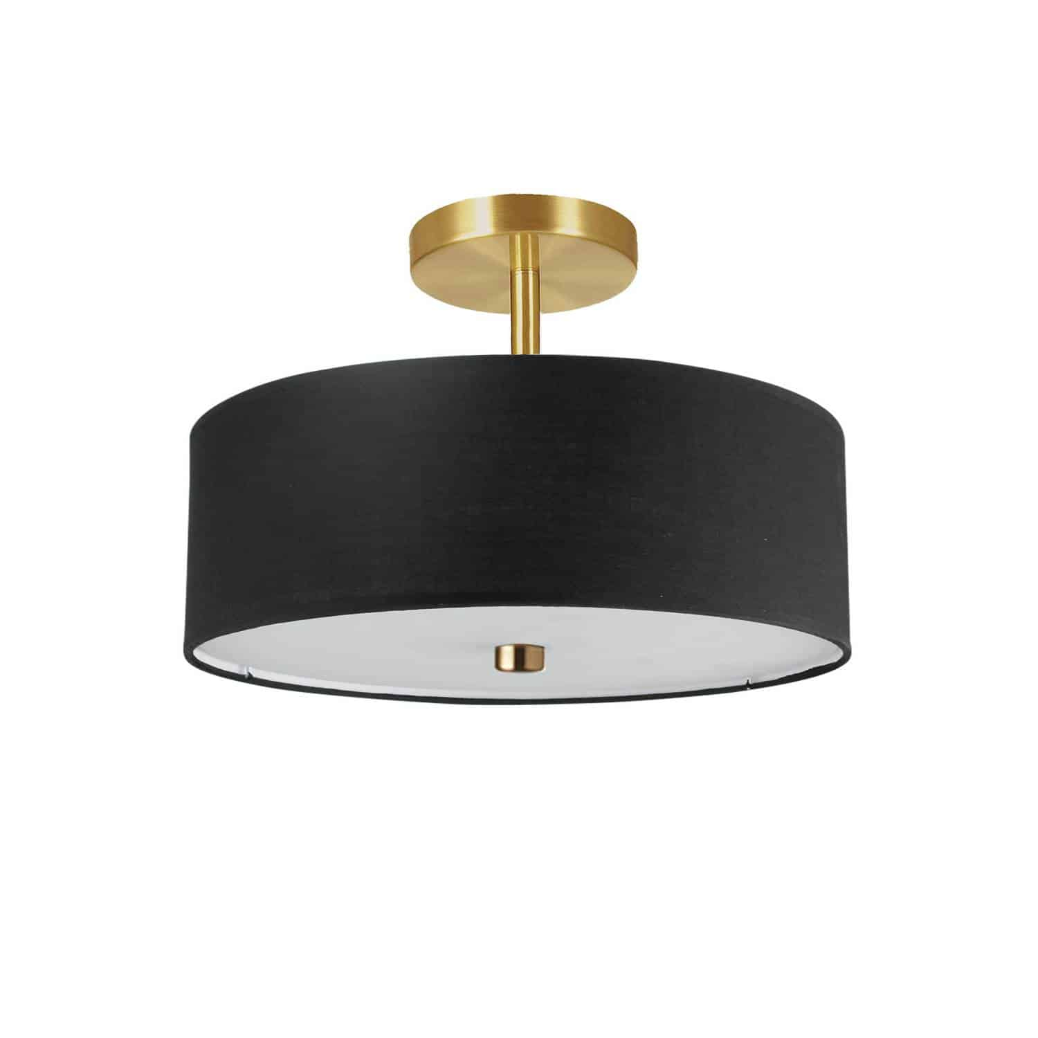3 Light Incandescent Semi-Flush Mount Aged Brass with Black Shade