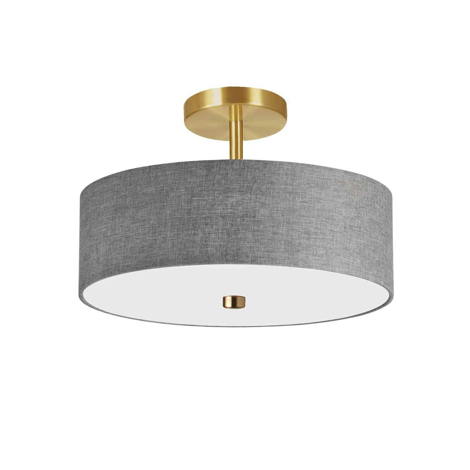 3 Light Incandescent Semi-Flush Mount Aged Brass with Grey Shade