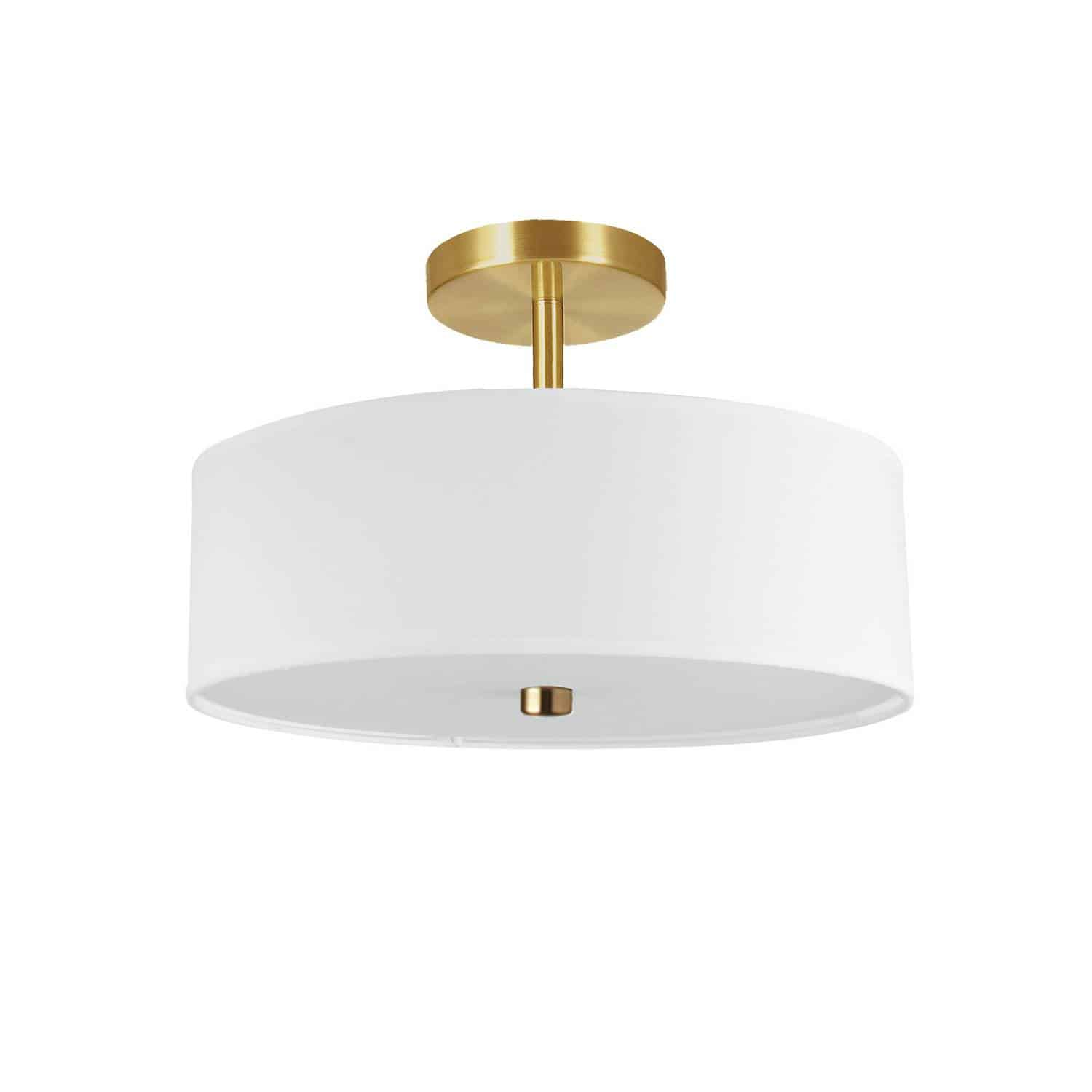 3 Light Incandescent Semi-Flush Mount Aged Brass with White Shade