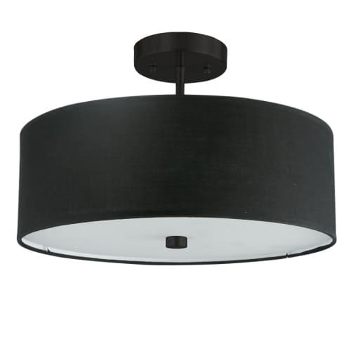 3 Light Incandescent Matte Black Semi-Flush Fixture w/ Black Shade