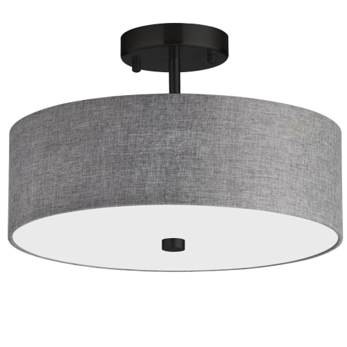 3 Light Incandescent Matte Black Semi-Flush Fixture w/ Grey Shade