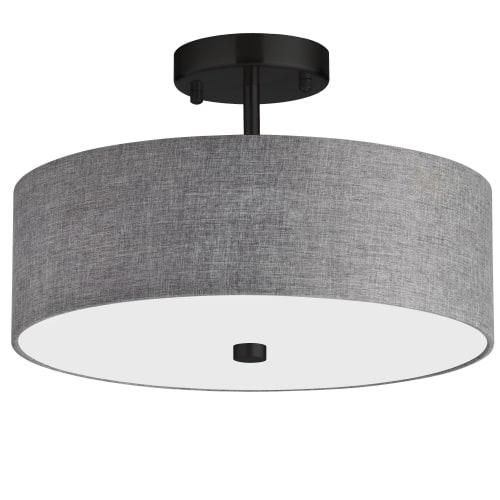 3 Light Incandescent Matte Black Semi-Flush Fixture w/ Grey Shade