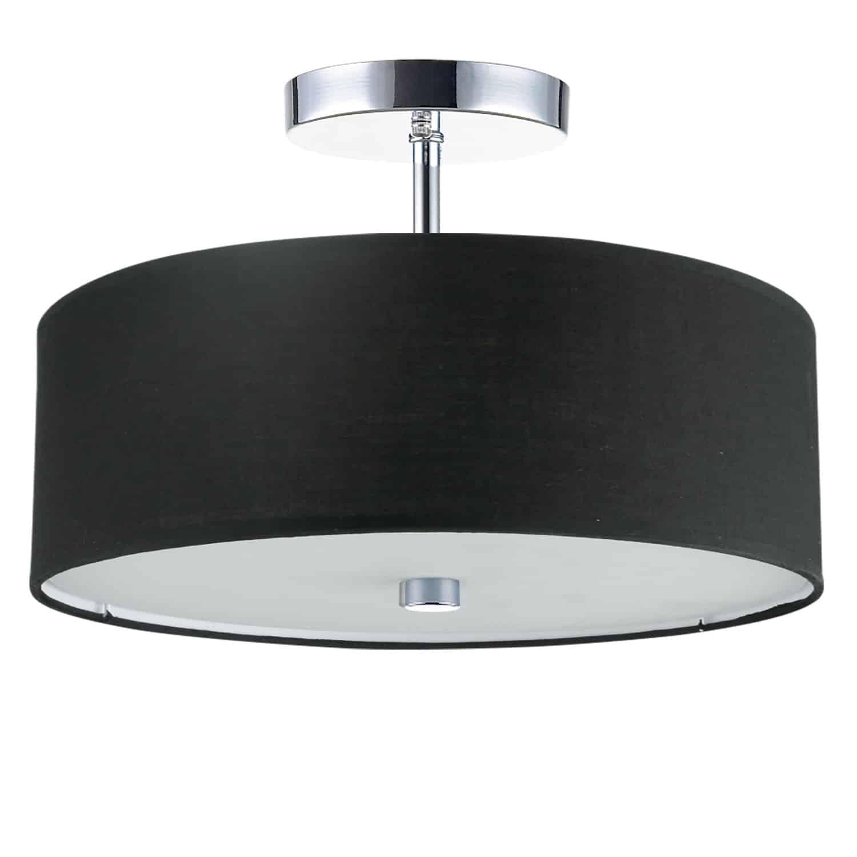 3 Light Incandescent Semi Flush Polished Chrome Finish with Black Shade