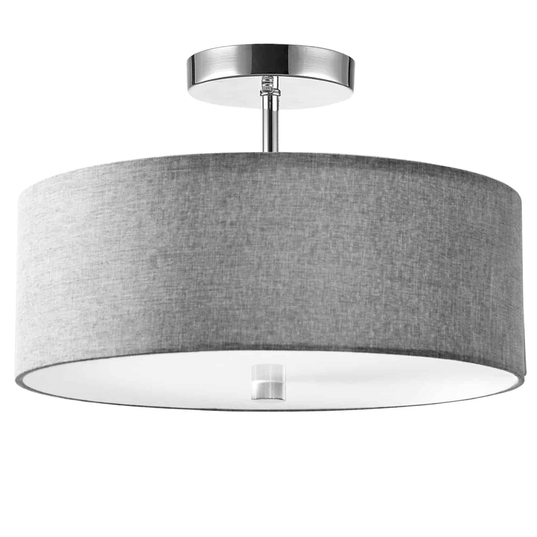 3 Light Incandescent Semi Flush Polished Chrome Finish with Grey Shade