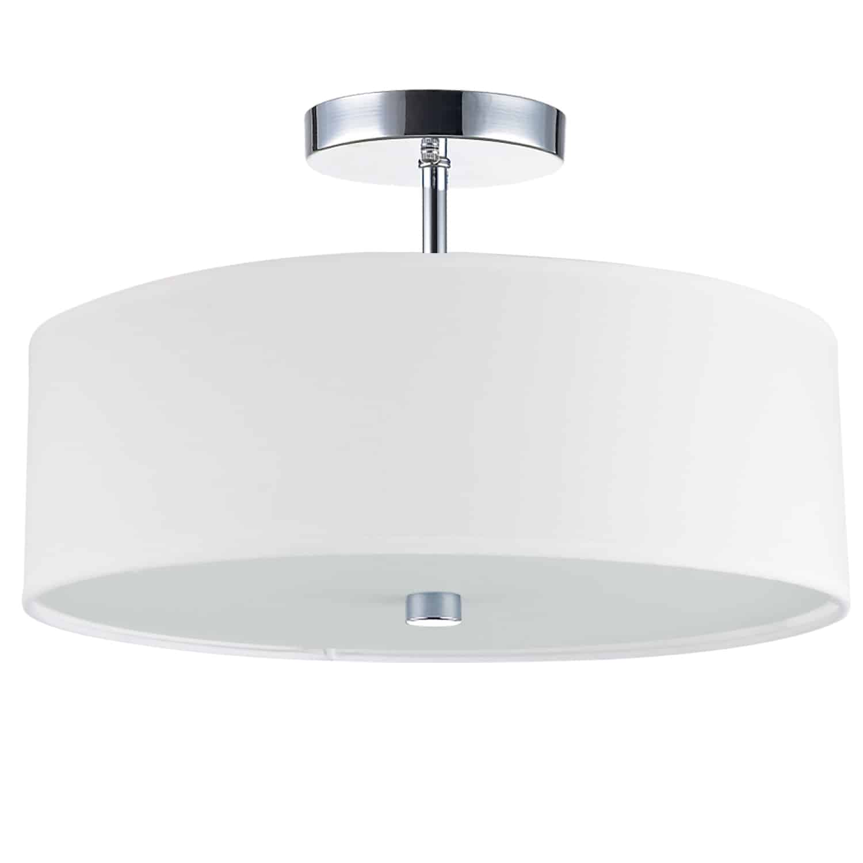 3 Light Incandescent Semi Flush Polished Chrome Finish with White Shade