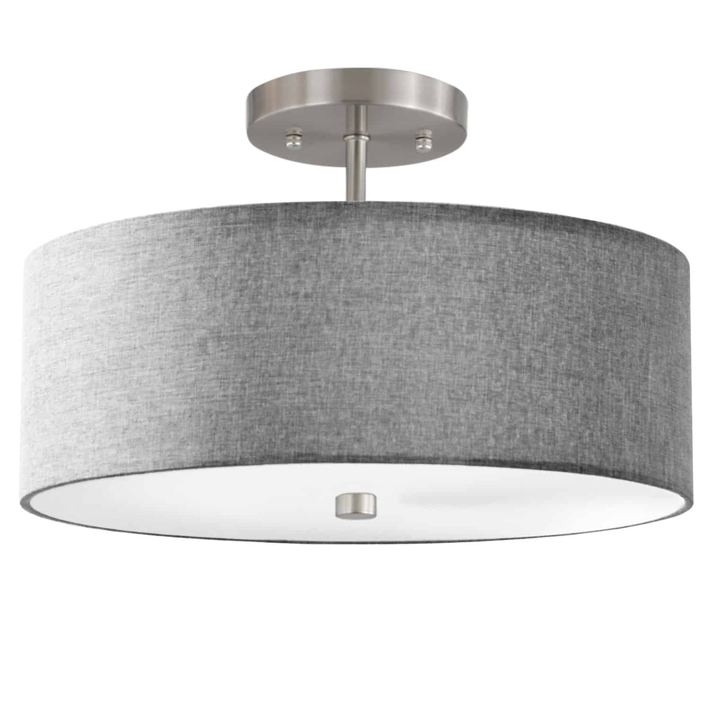 3 Light Incandescent Semi Flush Satin Chrome Finish with Grey Shade