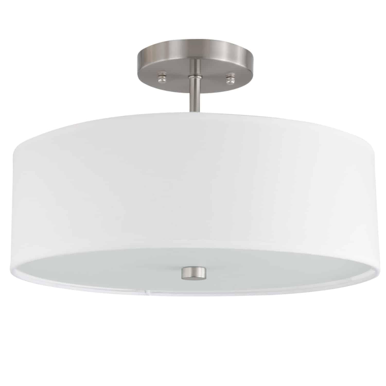 3 Light Incandescent Semi Flush Satin Chrome Finish with White Shade