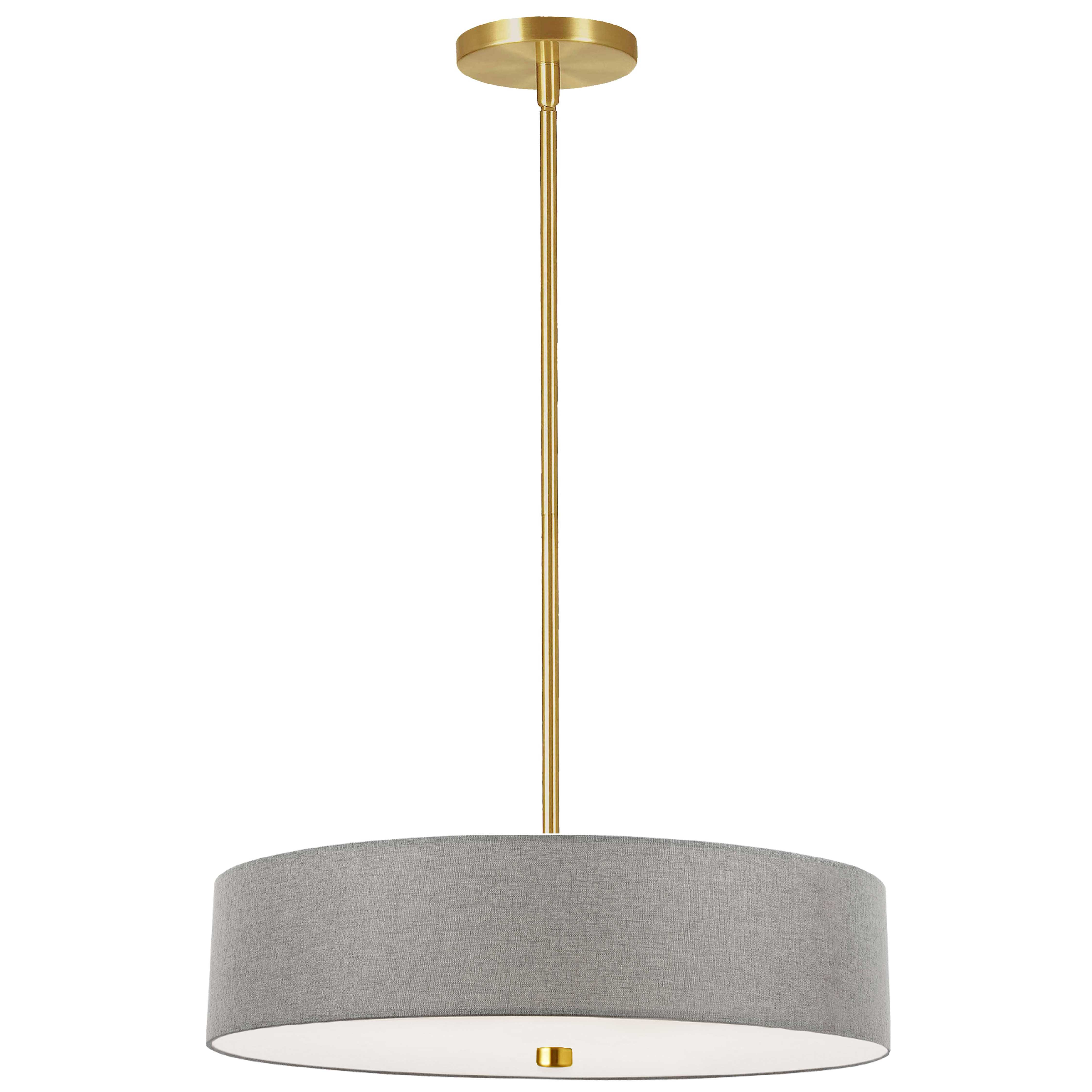 4 Light Incandescent Pendant Aged Brass with Grey Shade