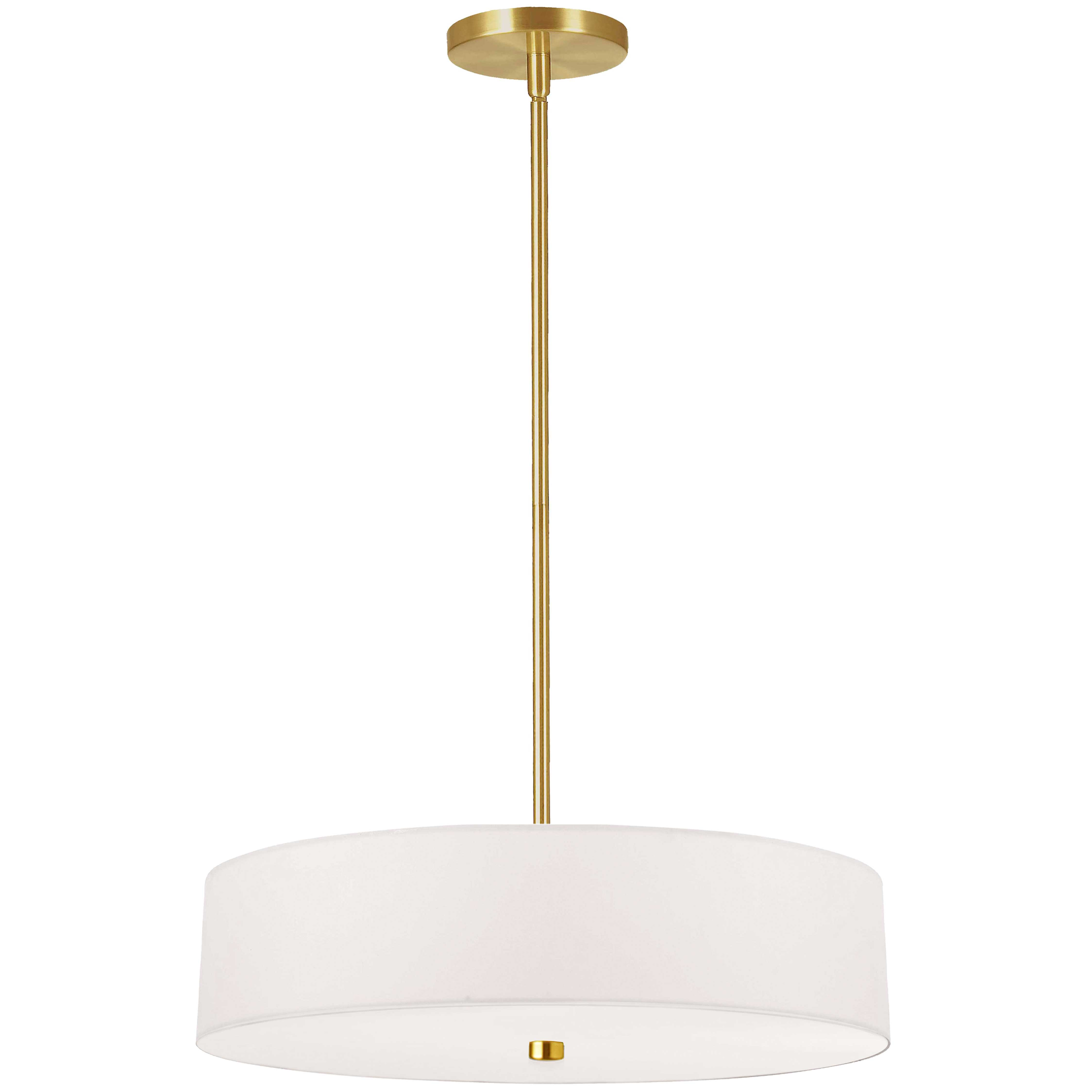 4 Light Incandescent Pendant Aged Brass with White Shade