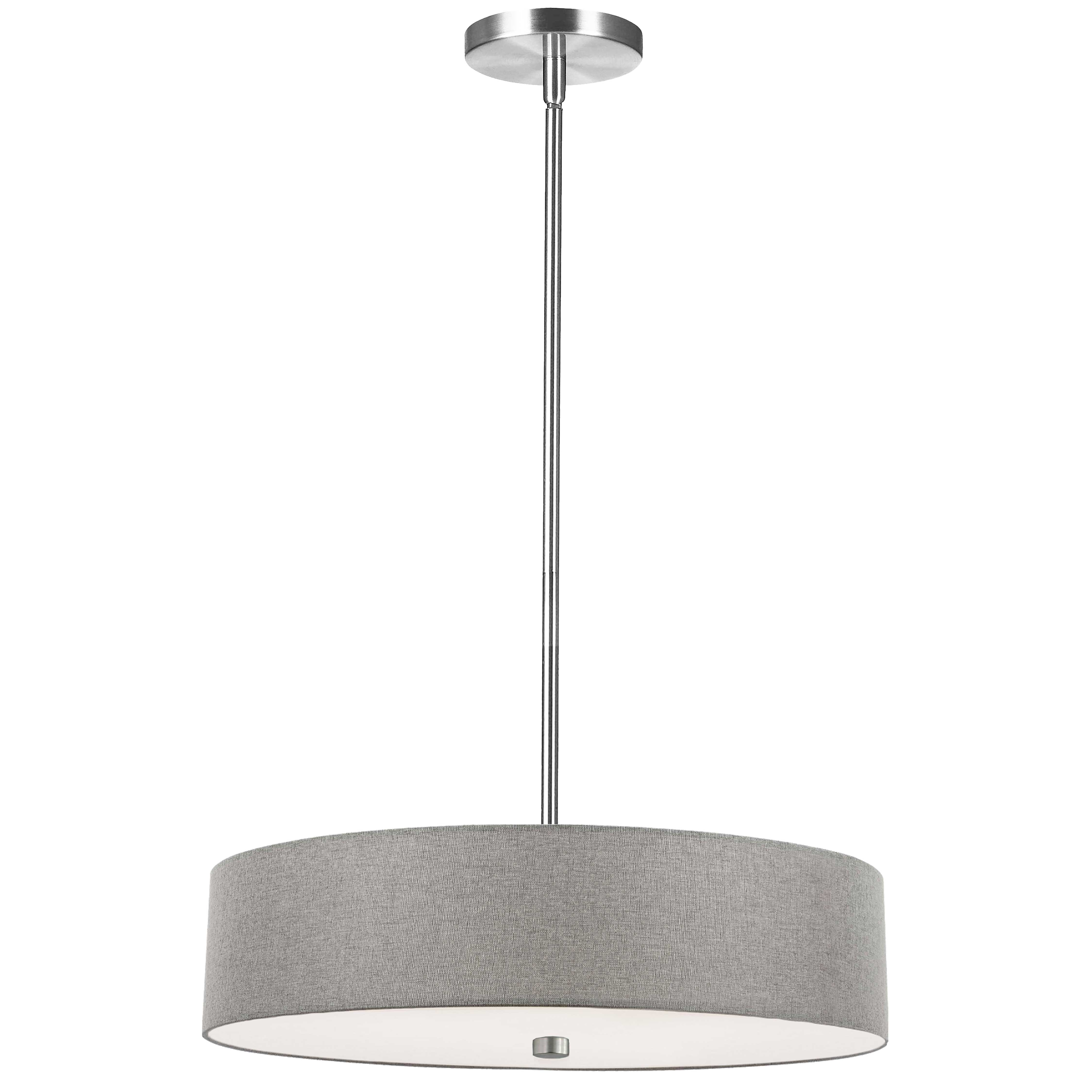 4 Light Incandescent Pendant Polished Chrome with Grey Shade