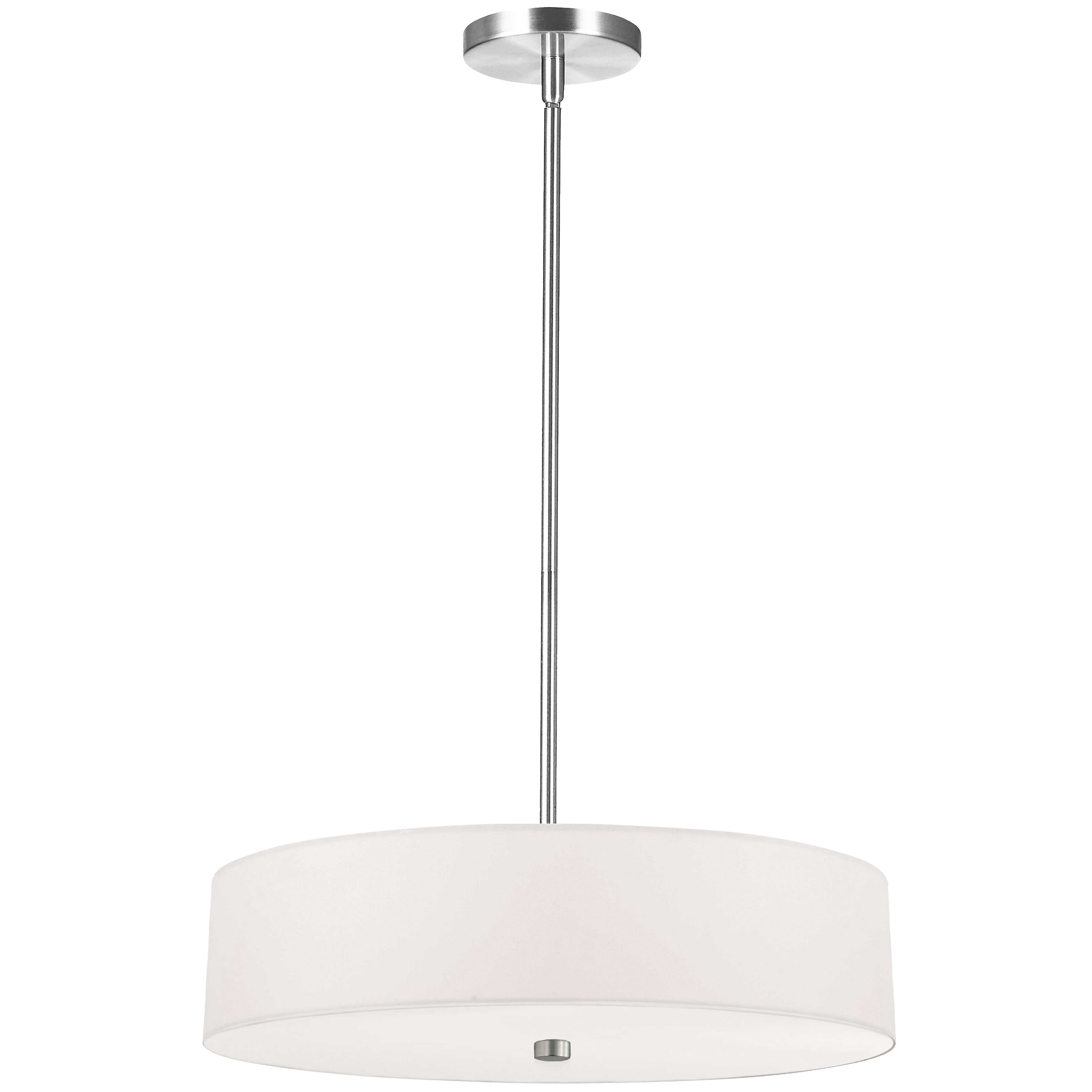 4 Light Incandescent Pendant Polished Chrome with White Shade