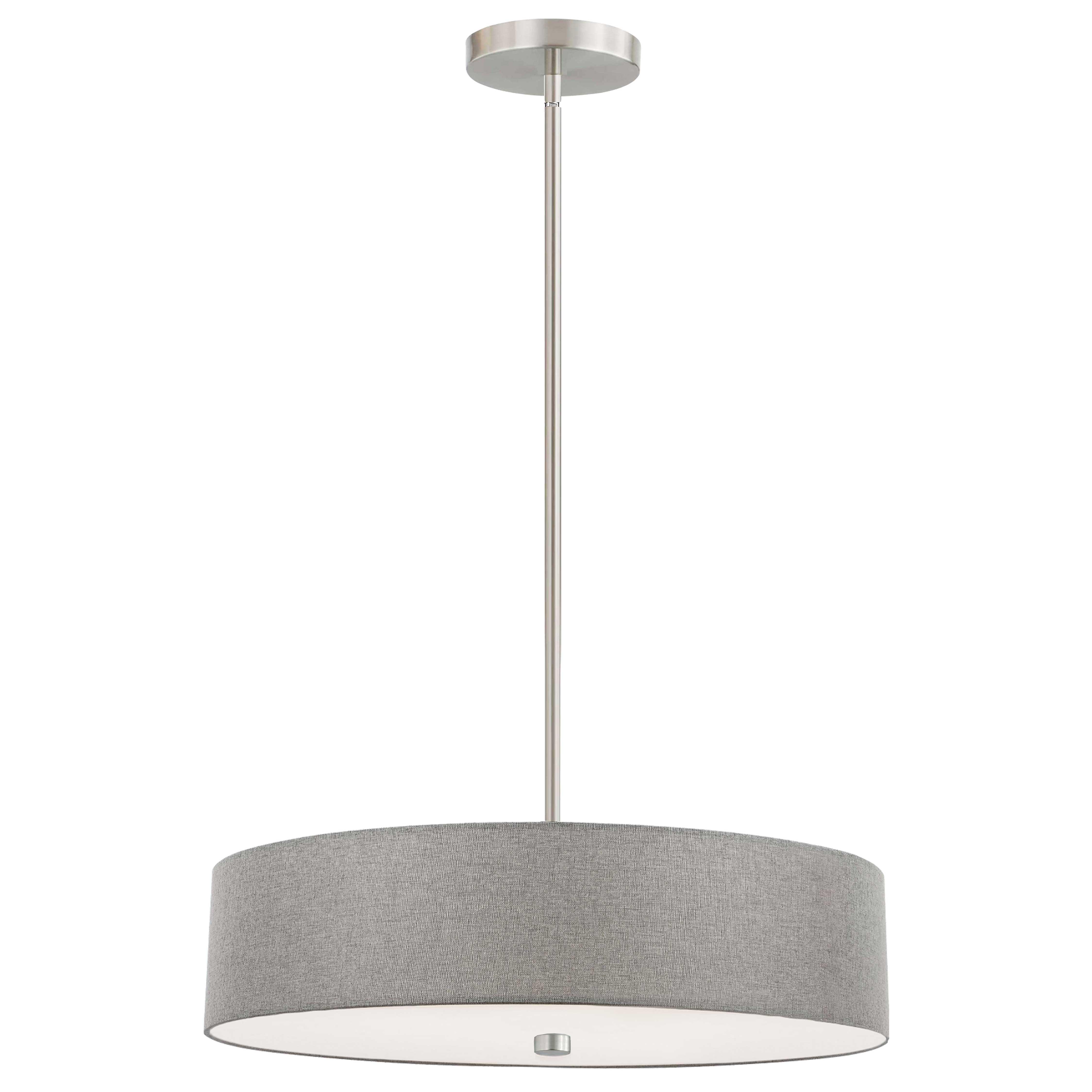 4 Light Incandescent Pendant Satin Chrome with Grey Shade