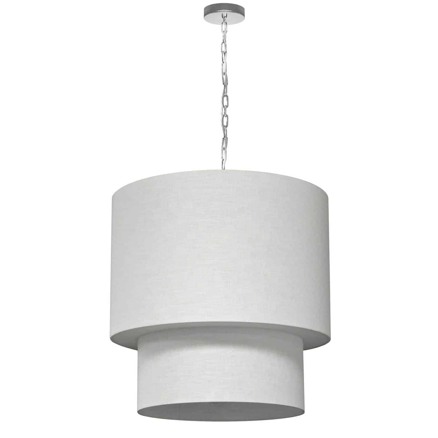 5 Light 2 Tiers Drum Linen Milano White, Acrylic Diffuser, Polished Chrome