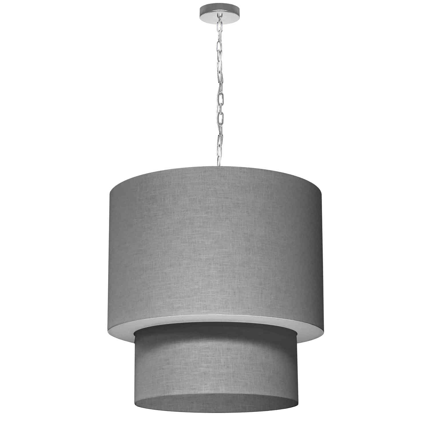 5 Light 3 Tiers Drum Linen Milano Grey, Acrylic Diffuser, Polished Chrome