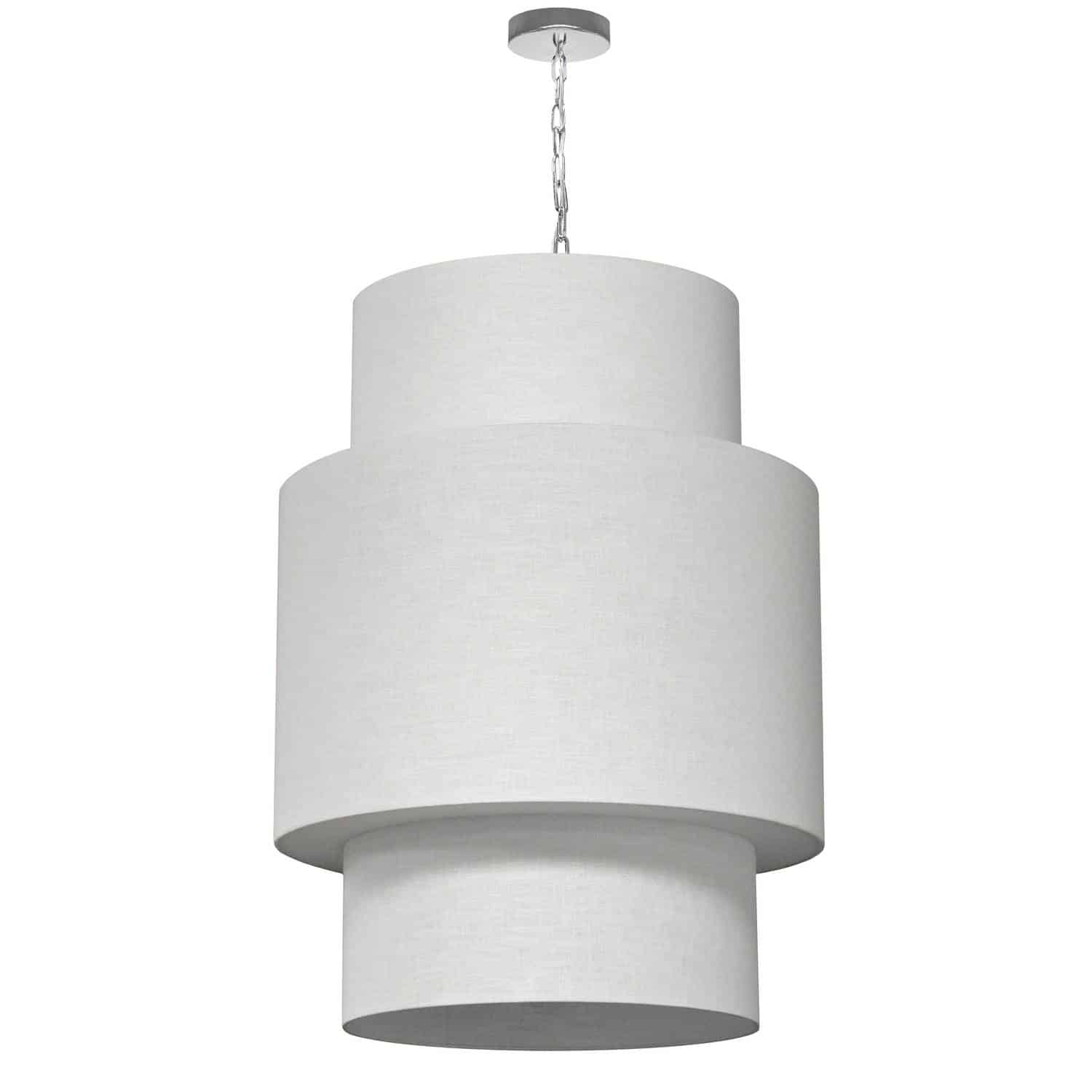 7 Light 3 Tiers Drum Linen Milano White, Acrylic Diffuser, Polished Chrome