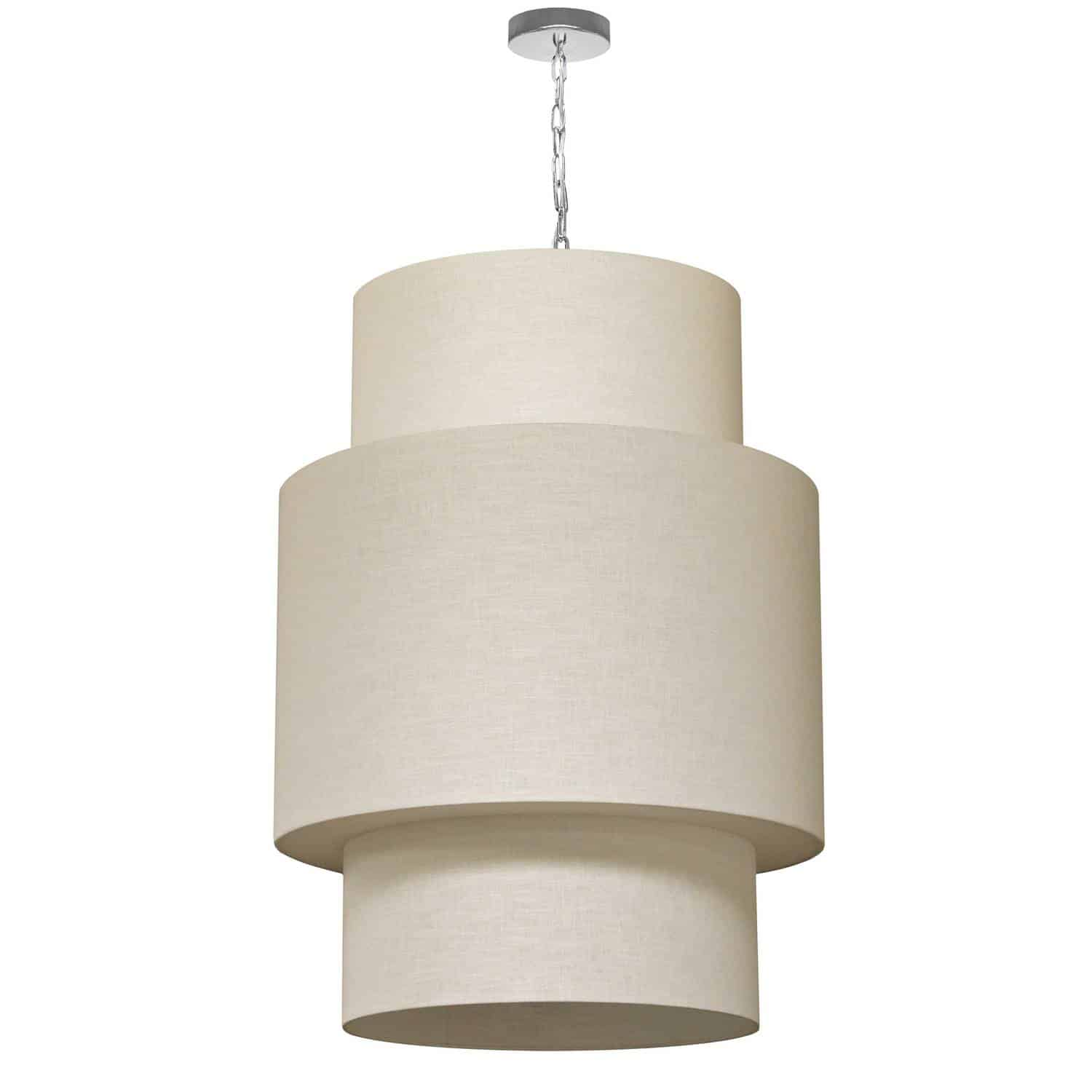7 Light 3 Tiers Drum Linen Milano Cream, Acrylic Diffuser,Polished Chrome