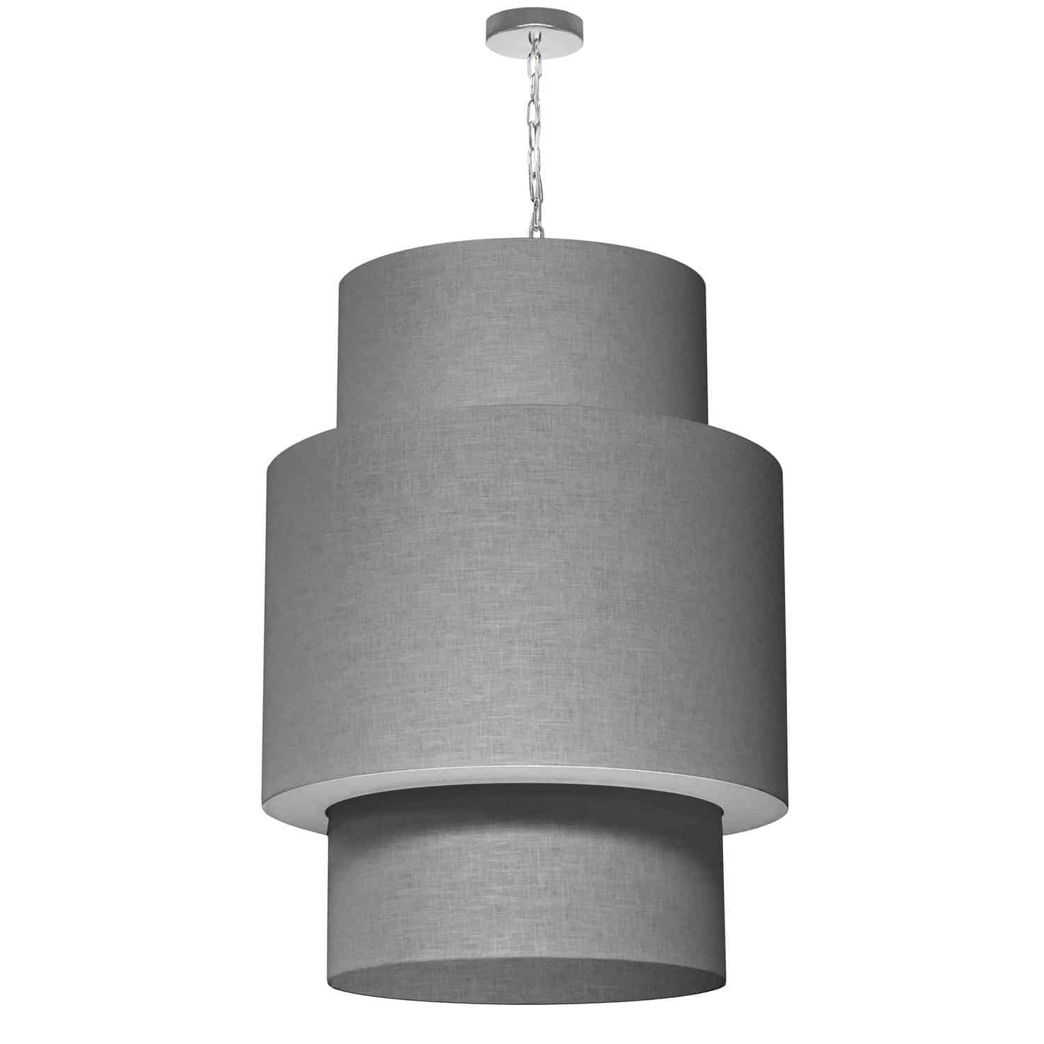 7 Light 3 Tiers Drum Linen Milano Grey, Acrylic Diffuser,Polished Chrome