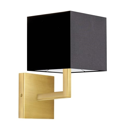 1 Light Incandescent Aged Brass Wall Sconce w/ Black Shade