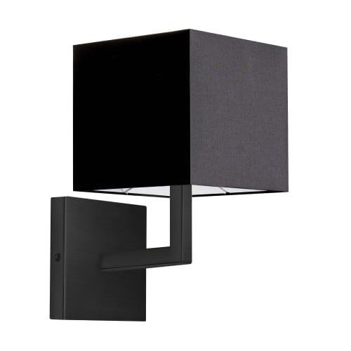 1 Light Incandescent Matte Black Wall Sconce w/ Black Shade