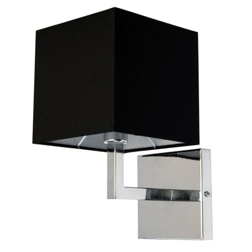 1 Light Incandescent Wall Sconce, Polished Chrome with Black Shade Finish