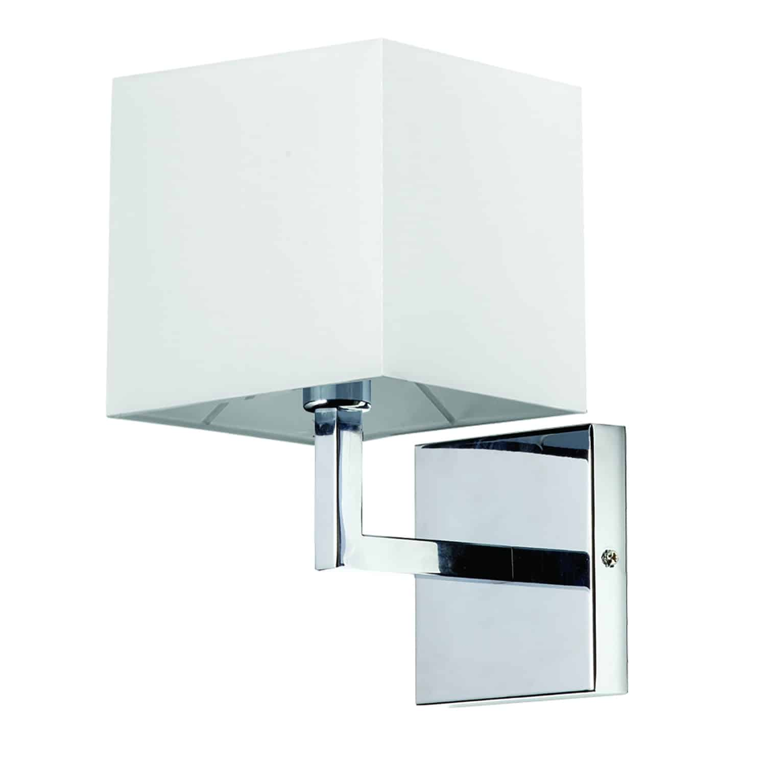 1 Light Incandescent Wall Sconce, Polished Chrome with White Shade Finish