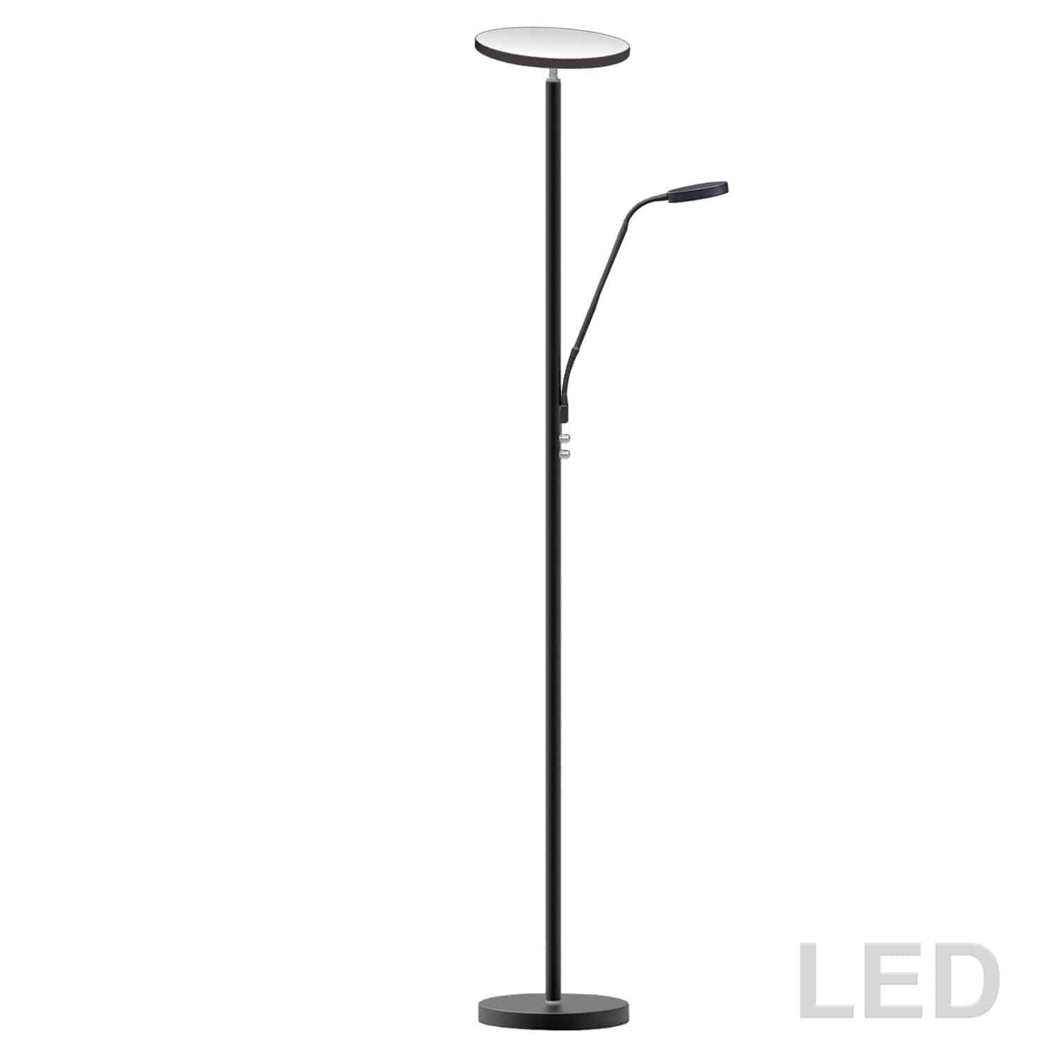Mother and Son LED Floor Lamp, Satin Black Finish