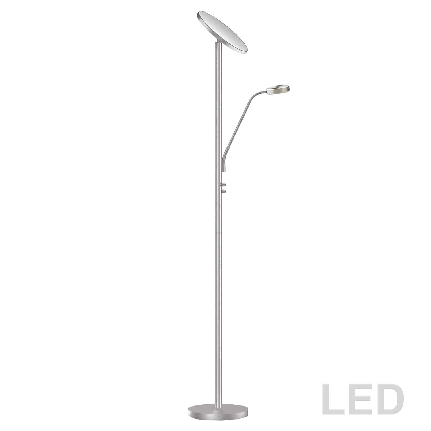 Mother and Son LED Floor Lamp, Satin Nickel Finish