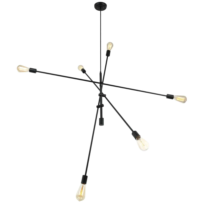 6 Light Incandescent Adjustable Pendant Matte Black Finish