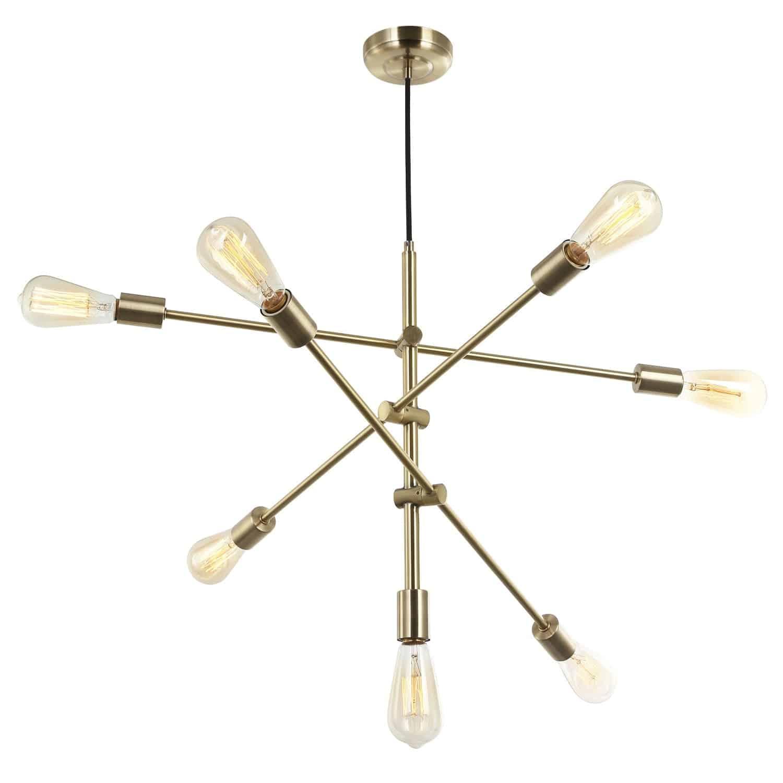 7 Light Incandescent Adjustable Pendant Aged Brass Finish