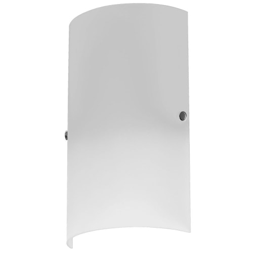 1 Light Wall Sconce, Satin Chrome Accents, White Frosted Glass
